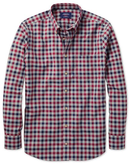 Classic fit button-down non-iron twill red and navy gingham shirt