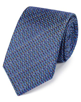 Blue multi silk Jermyn street design English luxury tie