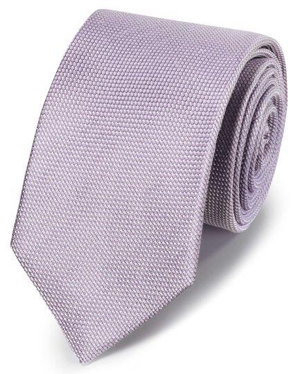 Lilac linen silk plain classic tie