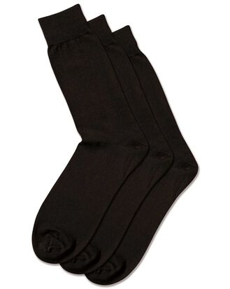 Black cotton rich 3 pack socks