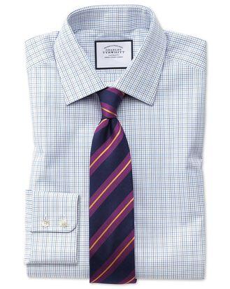 Classic fit blue multi check Egyptian cotton shirt