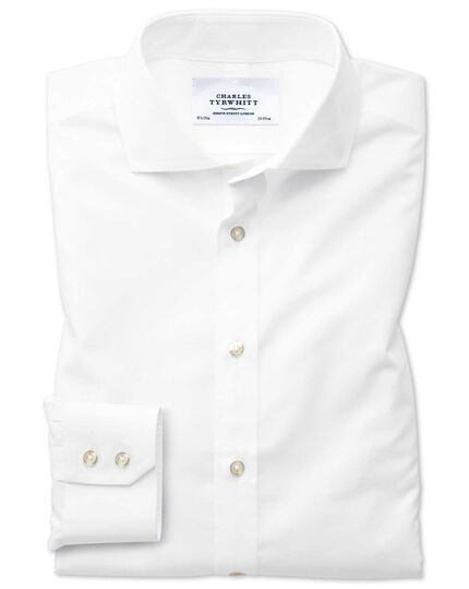 Classic fit cutaway non-iron natural cool white shirt