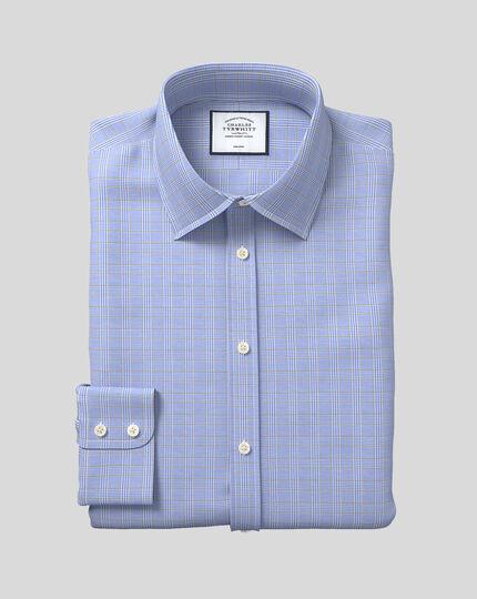 Chemise bleue et or à carreaux Prince de Galles slim fit sans repassage