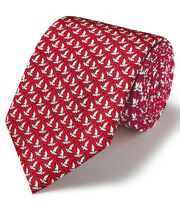 Red and white flying duck print silk classic tie
