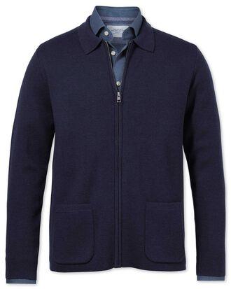 Navy merino wool zip jacket