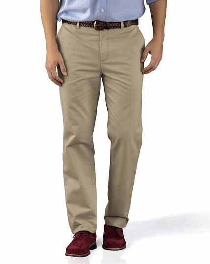 Stone slim fit flat front washed chinos