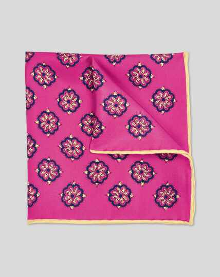 Medallion Print Pocket Square - Magenta