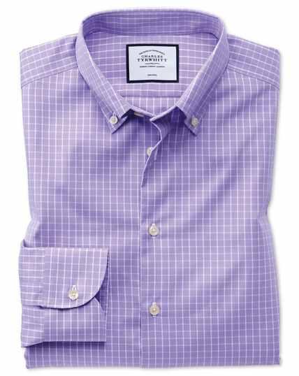 Chemise business casual lilas extra slim fit sans repassage à col boutonné