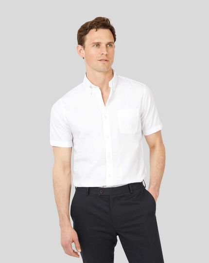 Button-Down Collar Washed Oxford Short Sleeve Shirt - White