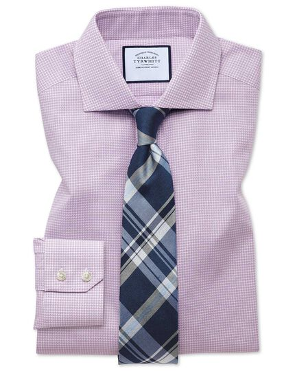 Spread Textured Puppytooth Shirt - Pink