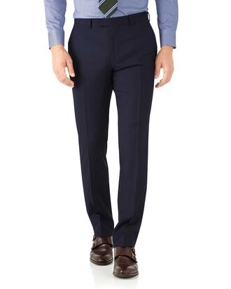 Navy classic fit herringbone Italian suit trousers