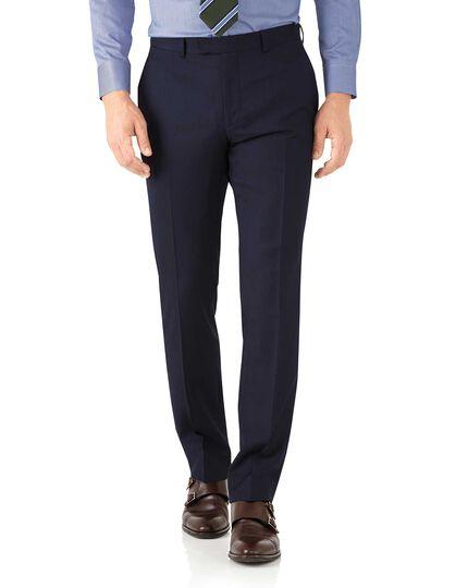 Navy classic fit herringbone Italian suit trousers
