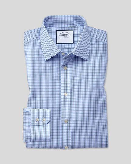 Classic Collar Non-Iron Poplin Check Shirt  - Blue & Sky