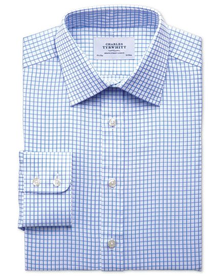 Extra slim fit twill grid check sky blue shirt