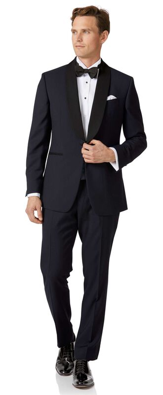 Midnight blue slim fit shawl collar dinner suit