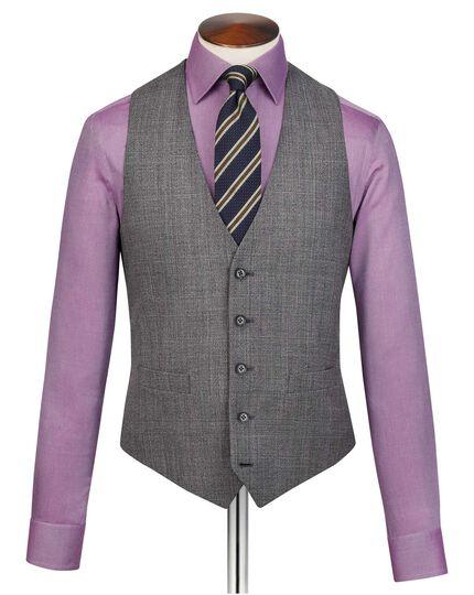Grey adjustable fit jaspe check business suit vest