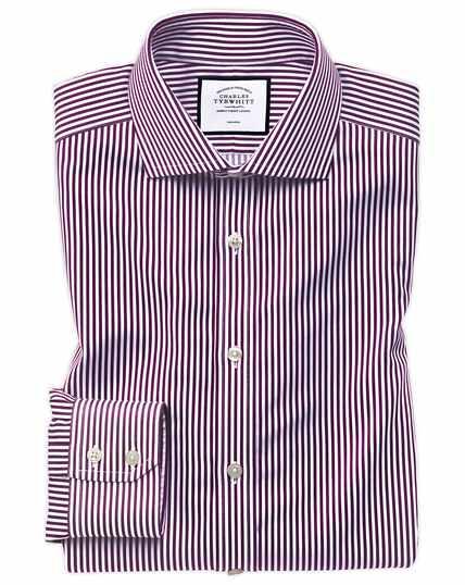 Extra slim fit non-iron spread collar berry twill stripe shirt