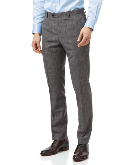 Grey with tan Prince of Wales check slim fit suit trouser