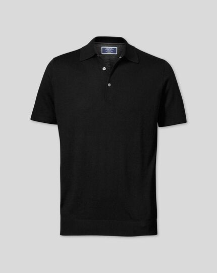 Black merino wool polo collar short sleeve jumper