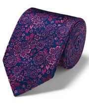 Pink and navy silk floral English luxury tie