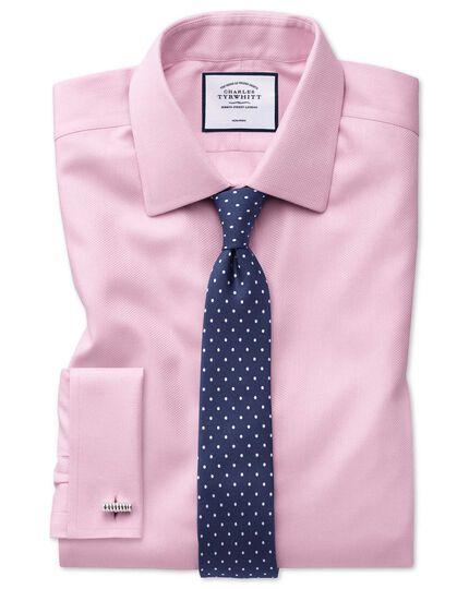 Chemise rose avec armure à chevrons  super slim fit sans repassage