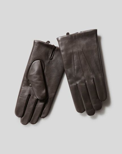 Leather Touch Screen Gloves - Brown