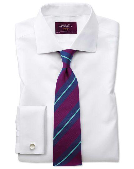 Slim fit semi-cutaway non-iron luxury white shirt
