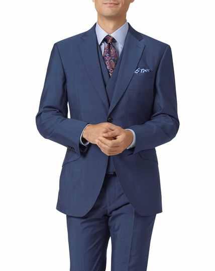 Blue slim fit Italian wool luxury suit jacket