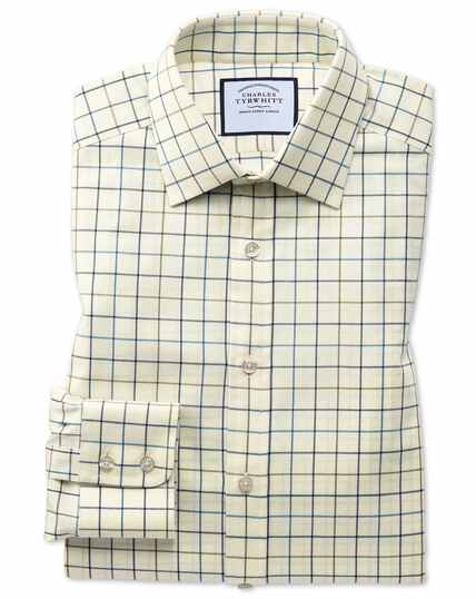 Classic fit navy and green tattersall country check shirt
