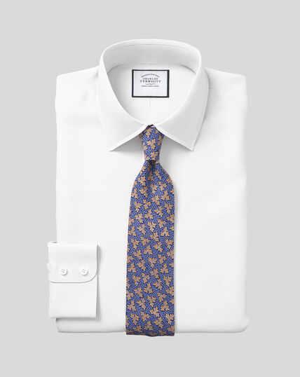 Hemd aus ägyptischer Baumwolle mit Kent-Kragen und Fischgrätmuster - Weiß