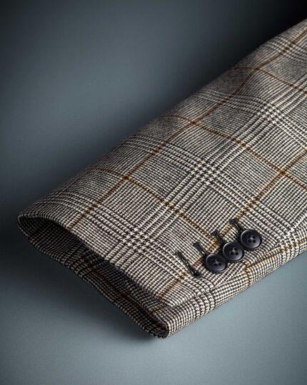 Slim fit black Prince of Wales check wool jacket
