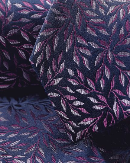Silk Floral Classic Tie - Navy & Purple