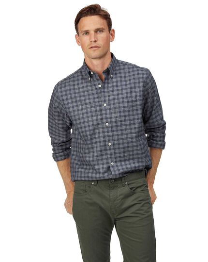 Classic fit soft washed non-iron twill grey check shirt