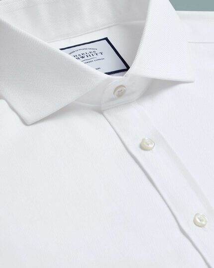 Extra slim fit cutaway non-iron herringbone white shirt