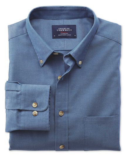 Bügelfreies Classic Fit Hemd aus Twill in Blau