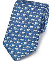 Blue silk elephant print classic tie