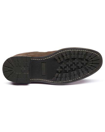 Dark brown nubuck leather commando boots