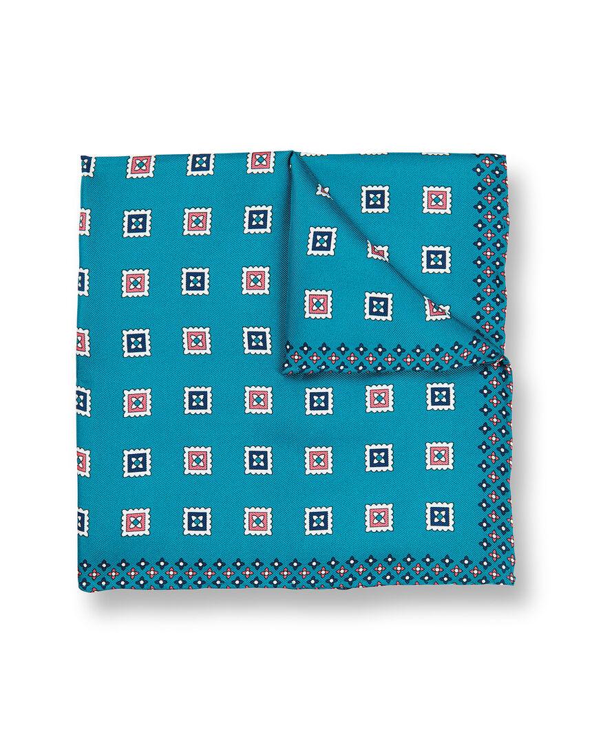 Pochette de costume avec imprimé géométrique à carrés - Turquoise