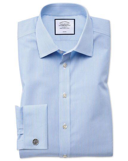 Extra slim fit non-iron Bengal stripe sky blue shirt