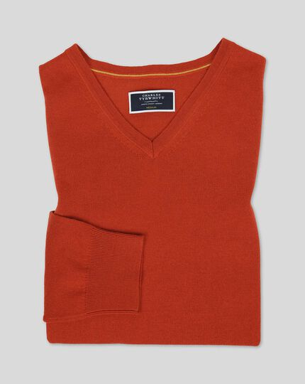 Merino V-neck Sweater - Orange
