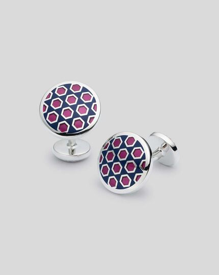 Runde Emaille-Manschettenknöpfe mit geometrischem Design - Marineblau & Rosa
