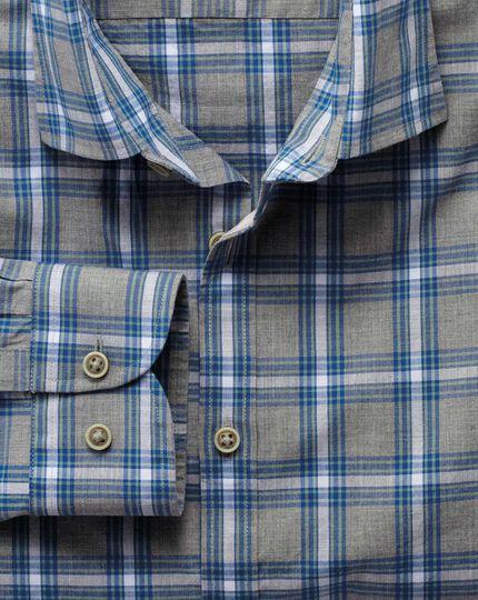 Extra Slim Fit Hemd in Grau und Himmelblau Meliert mit Karos