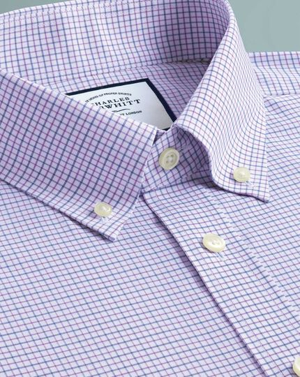 Chemise lilas et bleue coupe droite à col boutonné sans repassage