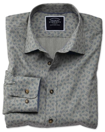 Classic Fit Hemd mit Blumenmuster in Grau
