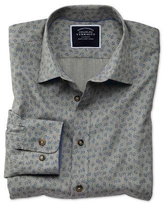 Slim fit grey floral print shirt