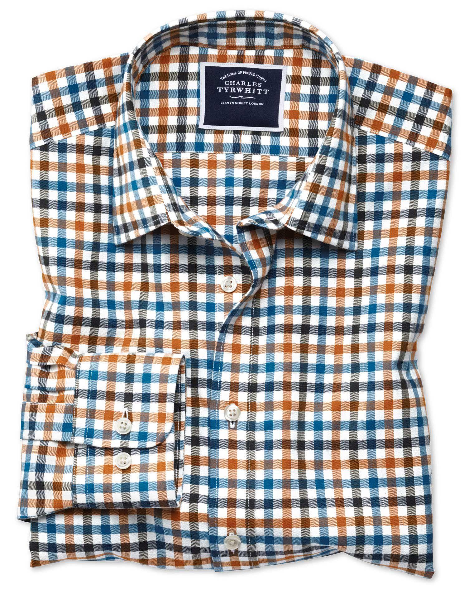 Shirts Impartial Classic Fit Blue Herringbone Plaid French Cuff Cotton Dress Shirt