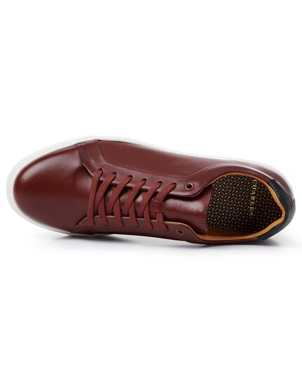 Burgundy leather trainers