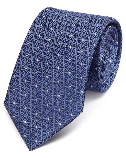 Blue silk classic geometric lattice tie