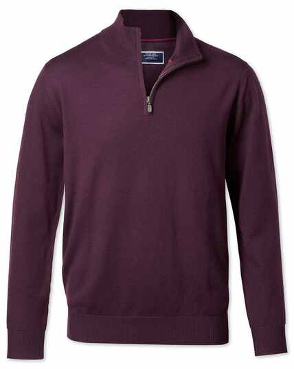 Wine zip neck merino jumper