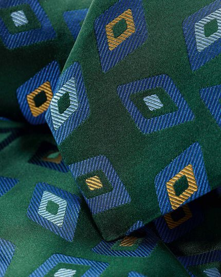 Silk Geometric Diamond English Luxury Tie - Green & Blue